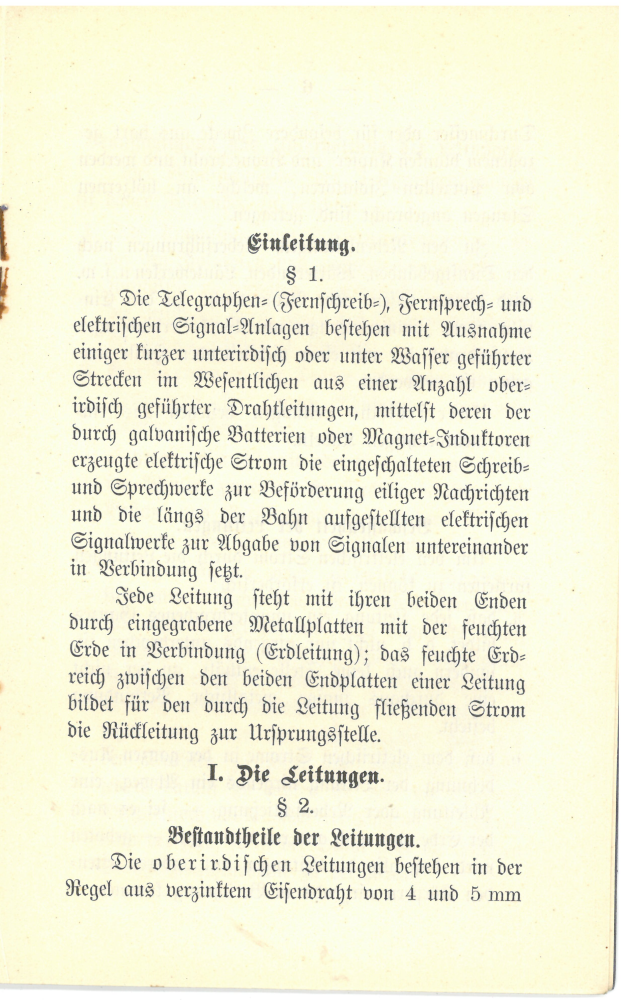 1897 - Auszug aus den Vorschriften über die Einrichtung und Unterhaltung der elektrischen Leitungen und Batterien