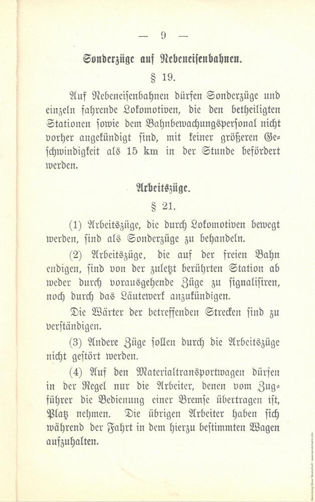 1897 - Durchführung des Fahrplanes und die Behandlung außerplanmäßiger Fahrten - Seite 9