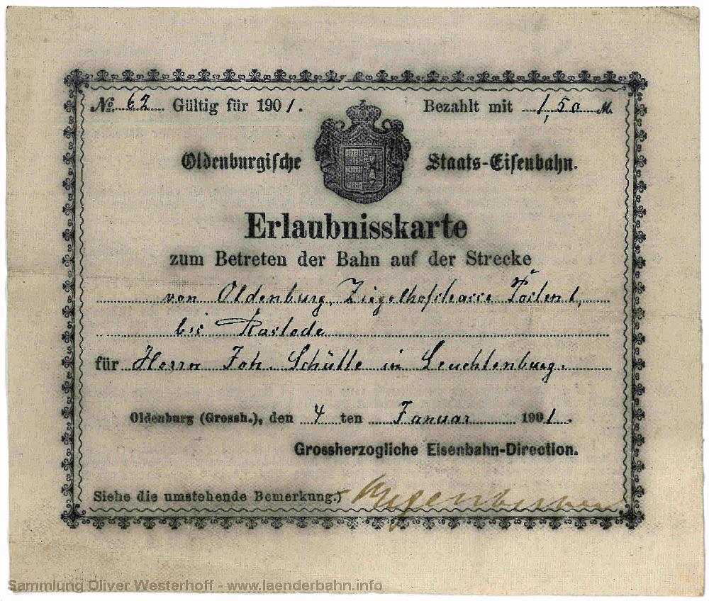 Erlaubniskarte zum Betreten der Bahn von 1901 - Vorderseite