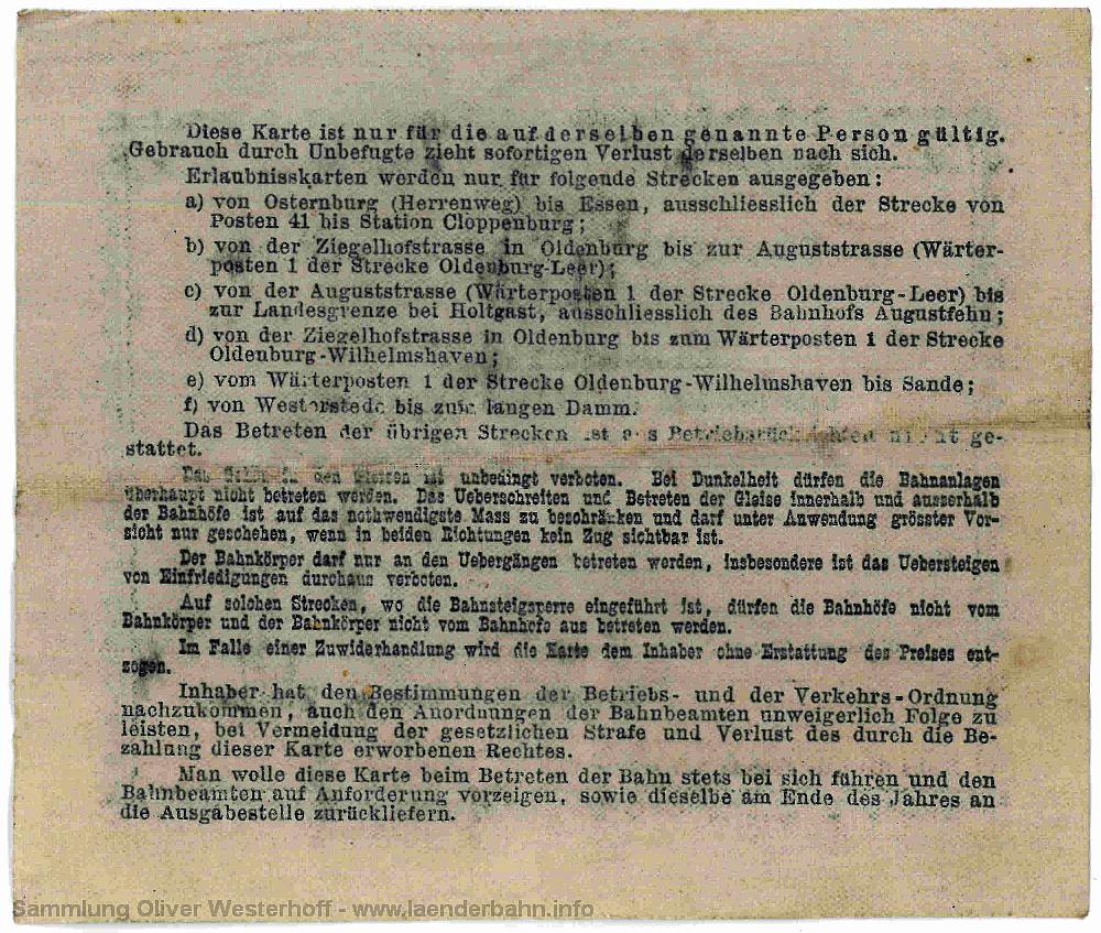 Erlaubniskarte zum Betreten der Bahn von 1901 - Rückseite