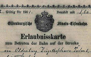 Erlaubniskarte zum Betreten der Bahn von 1901
