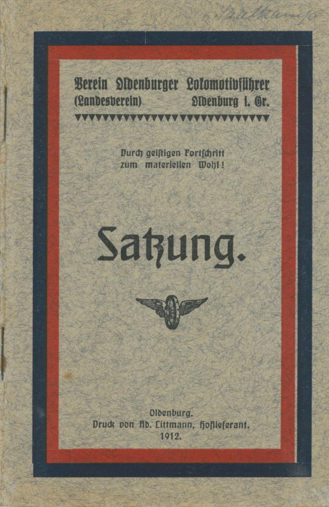 1912 - Satzung Verein Oldenburger Lokführer - Deckblatt