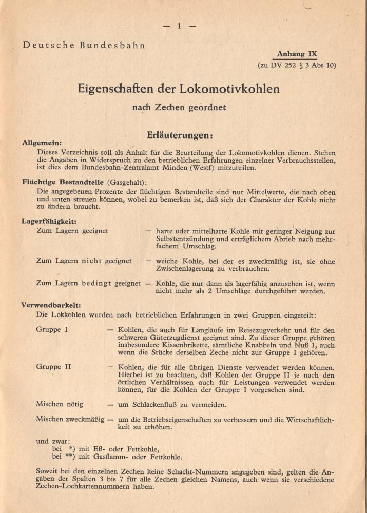 1953 - Eigenschaften der Lokomotivkohle - Seite 1