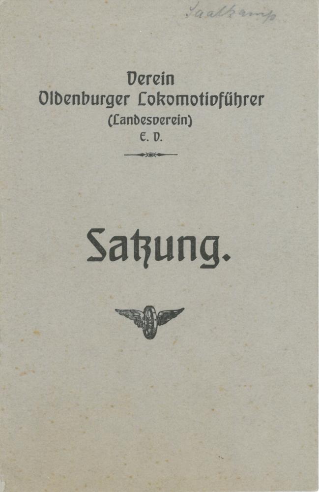 1915 - Satzung Verein Oldenburger Lokführer - Deckblatt