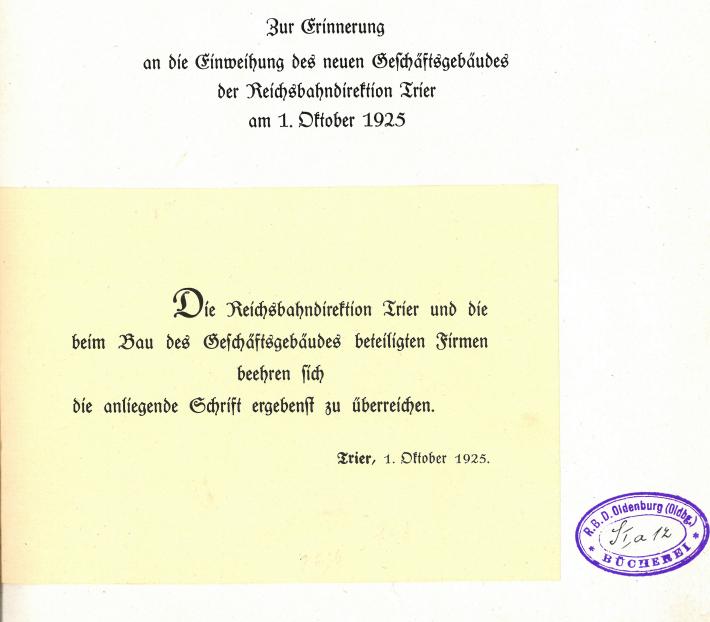 1925 Denkschrift zur Einweihung des Direktionsgebäudes der RBD Trier - Seite 1