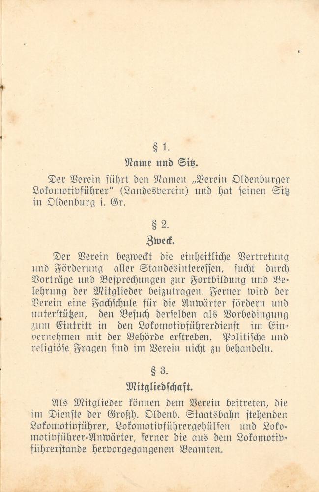 1912 - Satzung Verein Oldenburger Lokführer - Seite 1