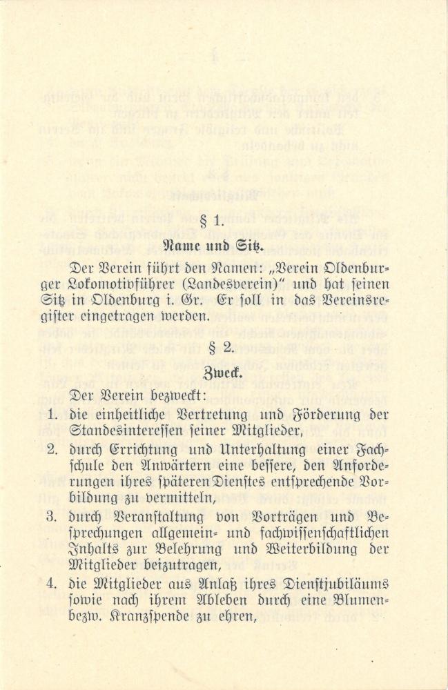 1915 - Satzung Verein Oldenburger Lokführer - Seite 1