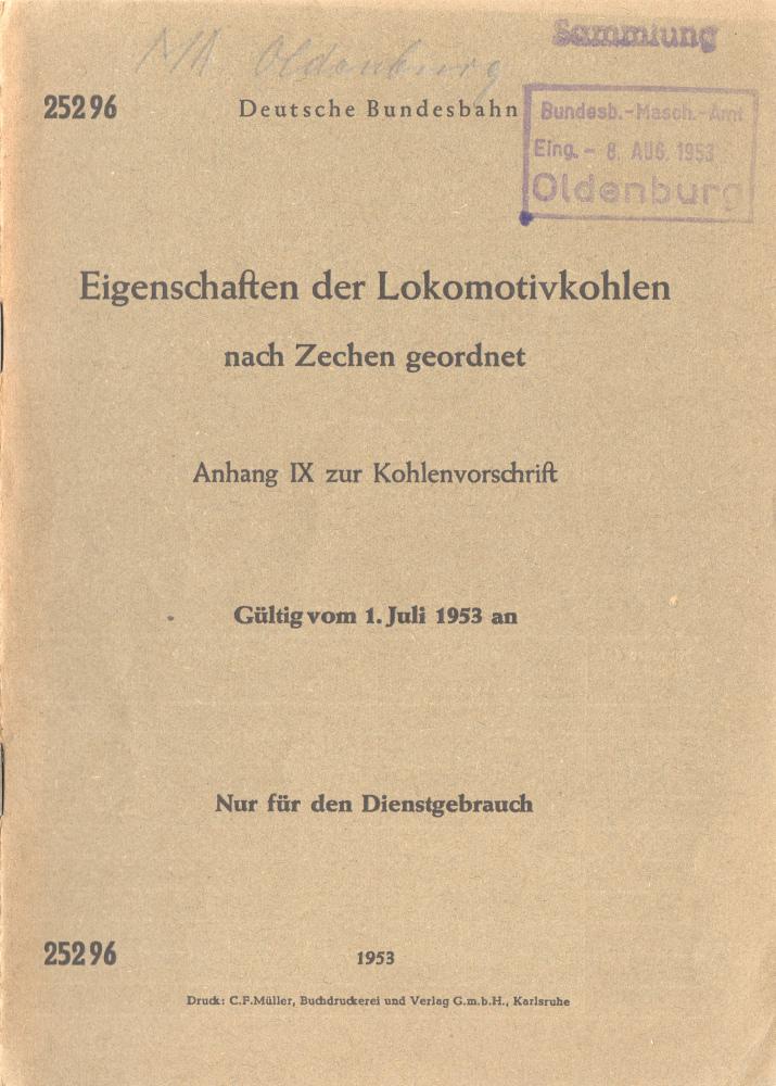 1953 - Eigenschaften der Lokomotivkohle - Deckblatt