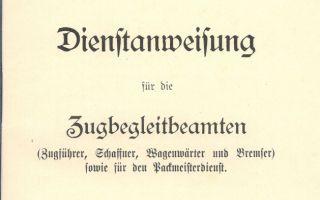 1909 - Dienstanweisung für die Zugbegleitbeamten