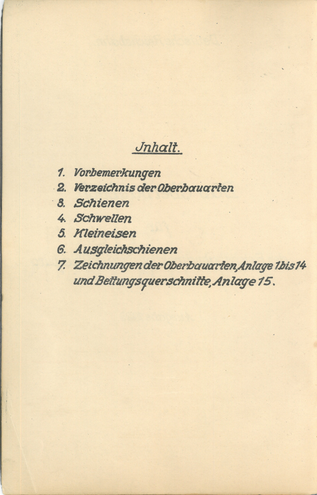 1923 - Oberbaubuch RBD Oldenburg - Inhalt