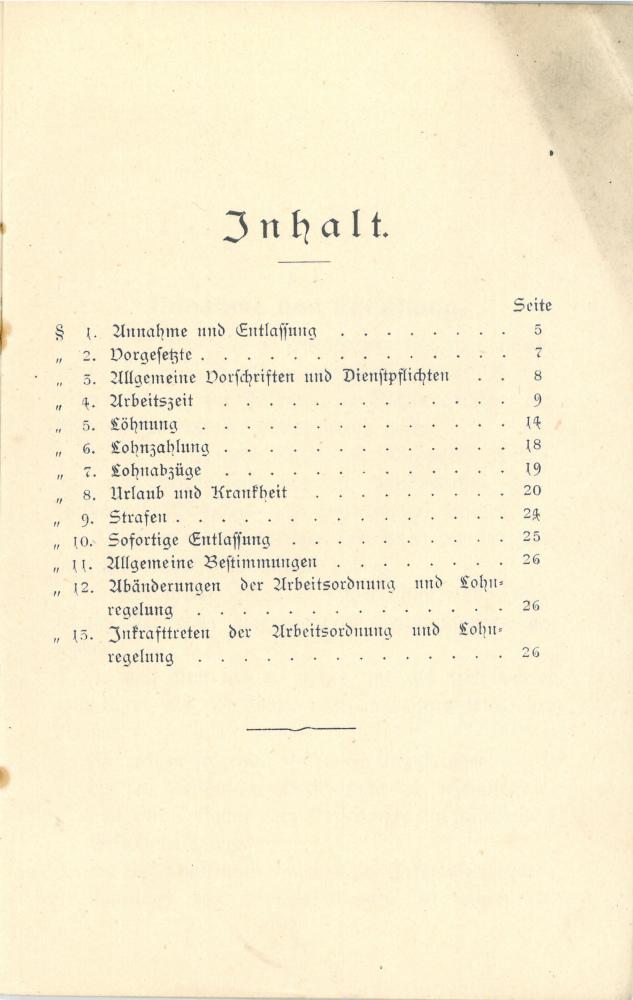 1908 - Arbeitsordnung und Lohnregelung für Rottenarbeiter und Hülfswärter - Inhalt