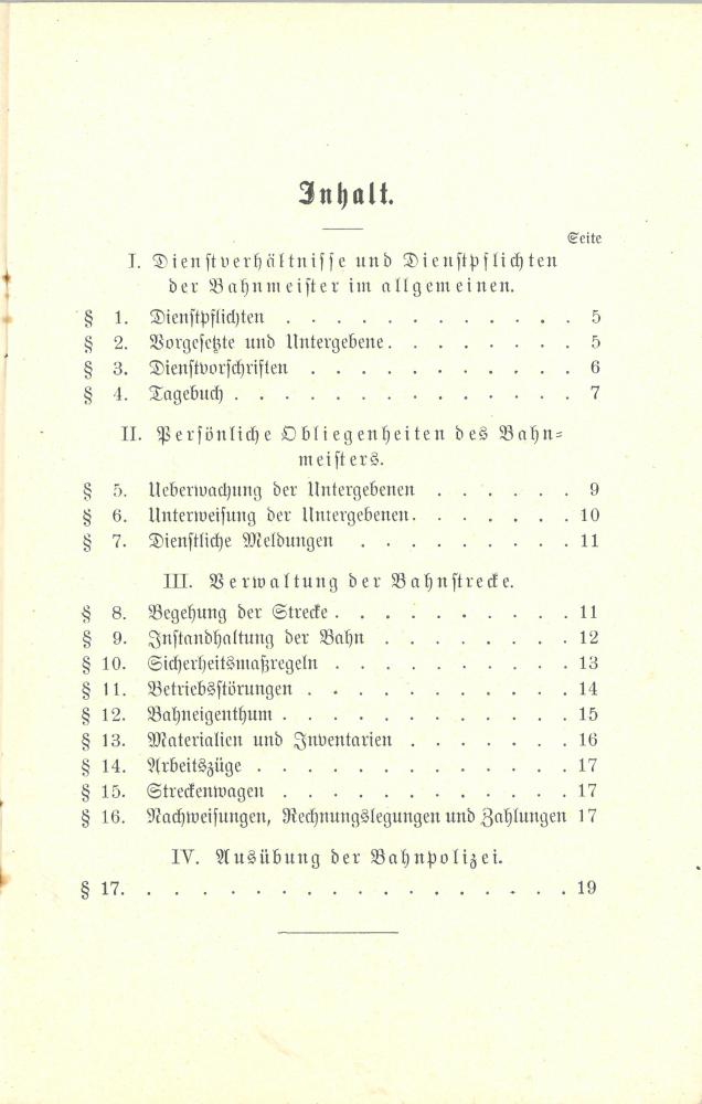 1897 Dienstanweisung für die Bahnmeister - Inhalt