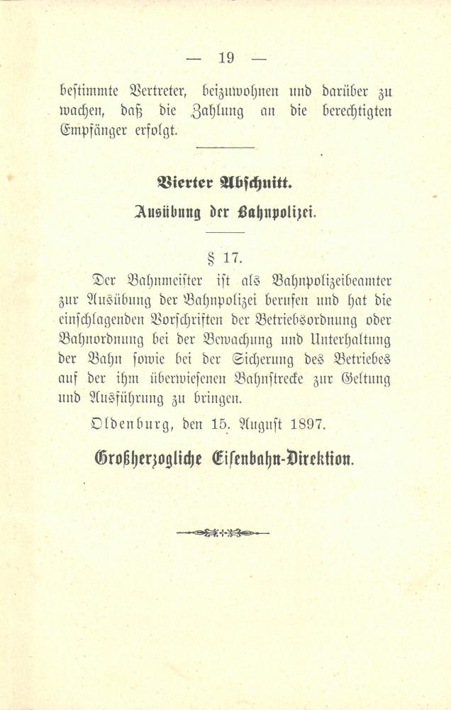 1897 Dienstanweisung für die Bahnmeister - Seite 19