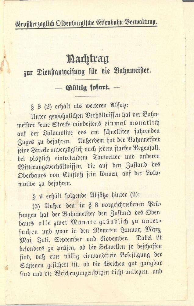 1897 Dienstanweisung für die Bahnmeister - Anhang 1909