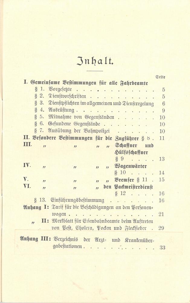 1909 - Dienstanweisung für die Zugbegleitbeamten - Inhalt