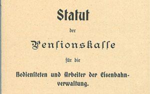 1908 - Statut Pensionskasse