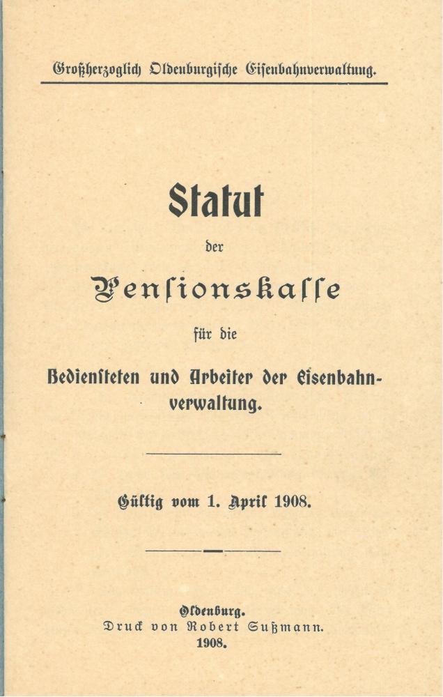 1908 - Statut Pensionskasse, Seite 1