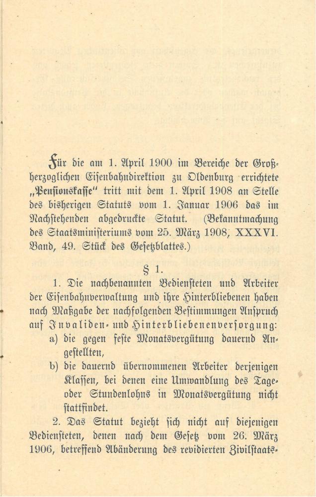 1908 - Statut Pensionskasse, Seite 3