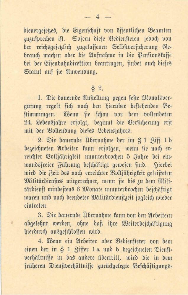 1908 - Statut Pensionskasse, Seite 4