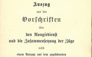 1897 - Vorschriften über den Rangierdienst und die Zusammensetzung der Züge