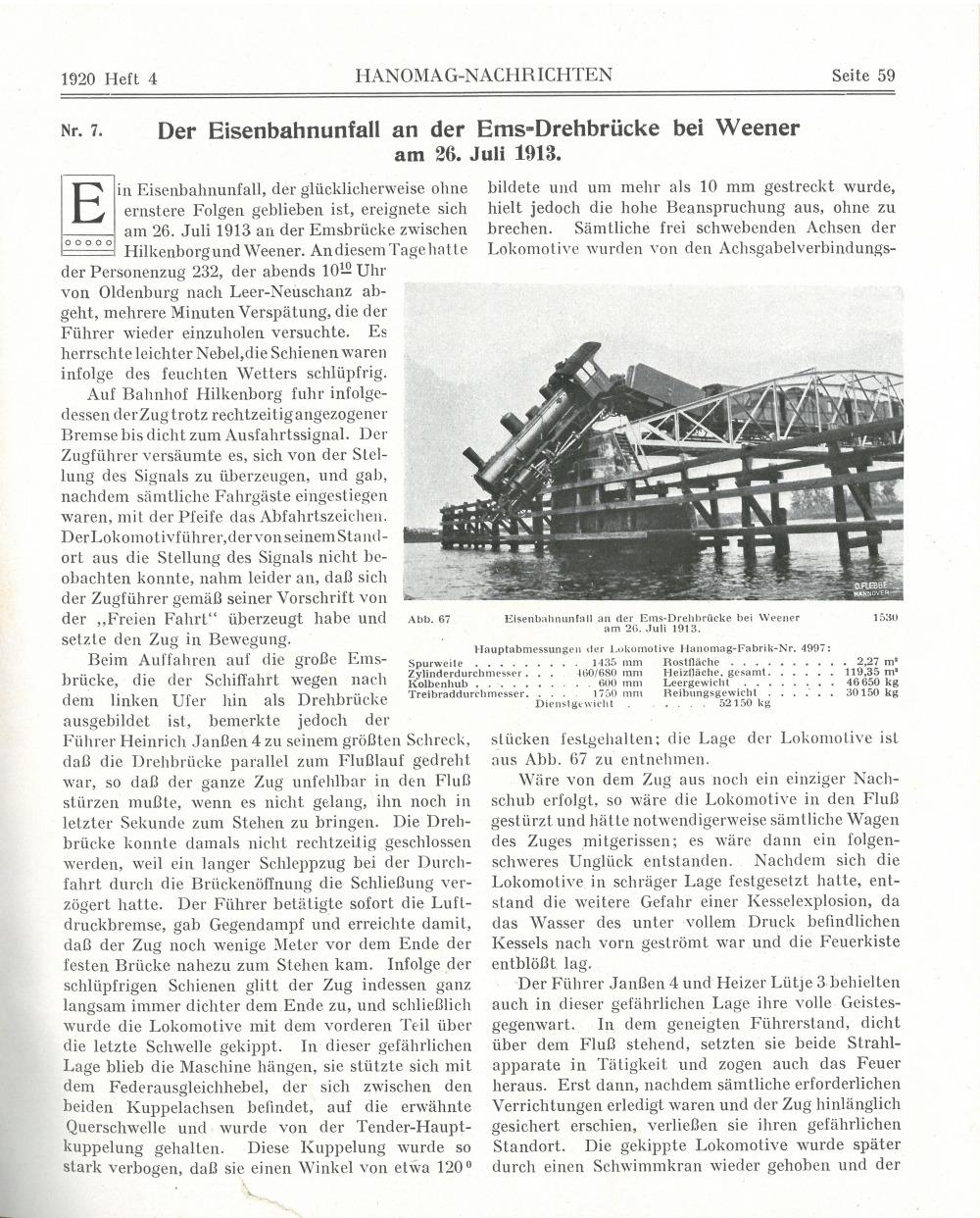 Der Eisenbahnunfall auf der Ems-Drehbrücke bei Weener - Seite 1