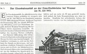 1920 - Der Eisenbahnunfall auf der Ems-Drehbrücke bei Weener