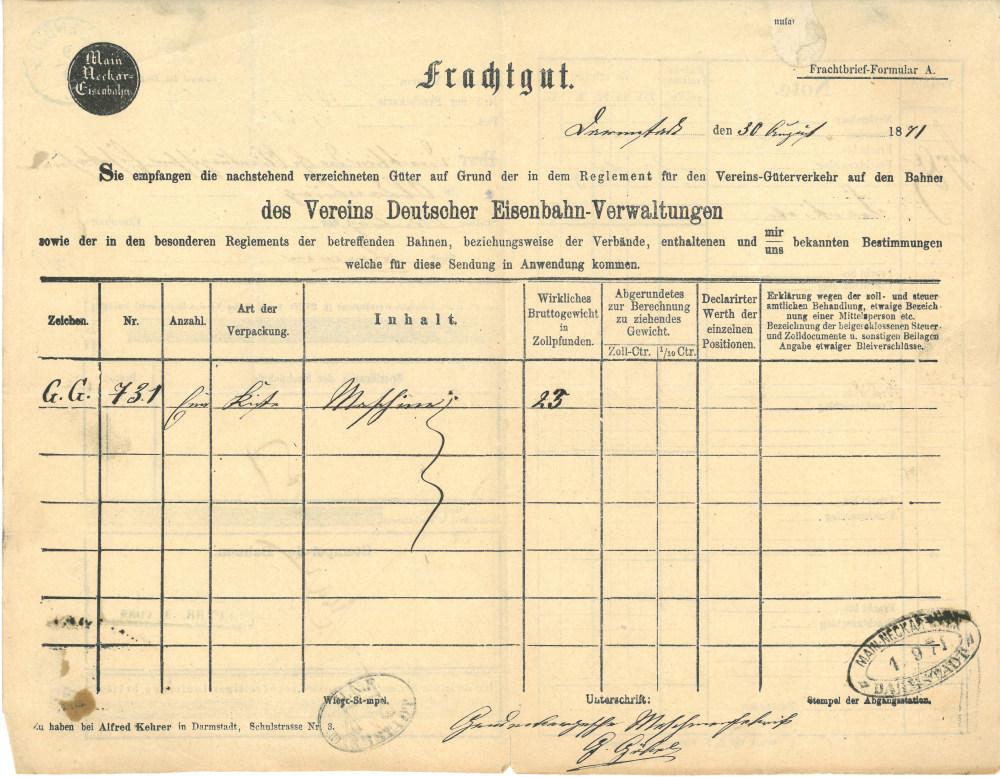 1871 - Frachtbrief - Rückseite