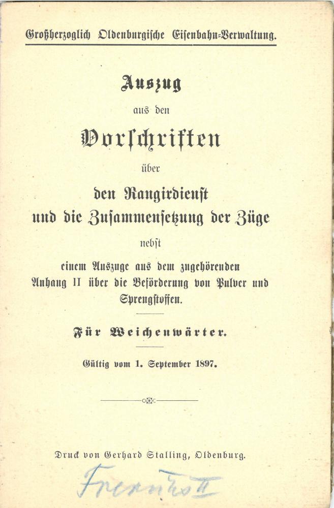 1897 - Vorschriften über den Rangierdienst und die Zusammensetzung der Züge - Seite 1
