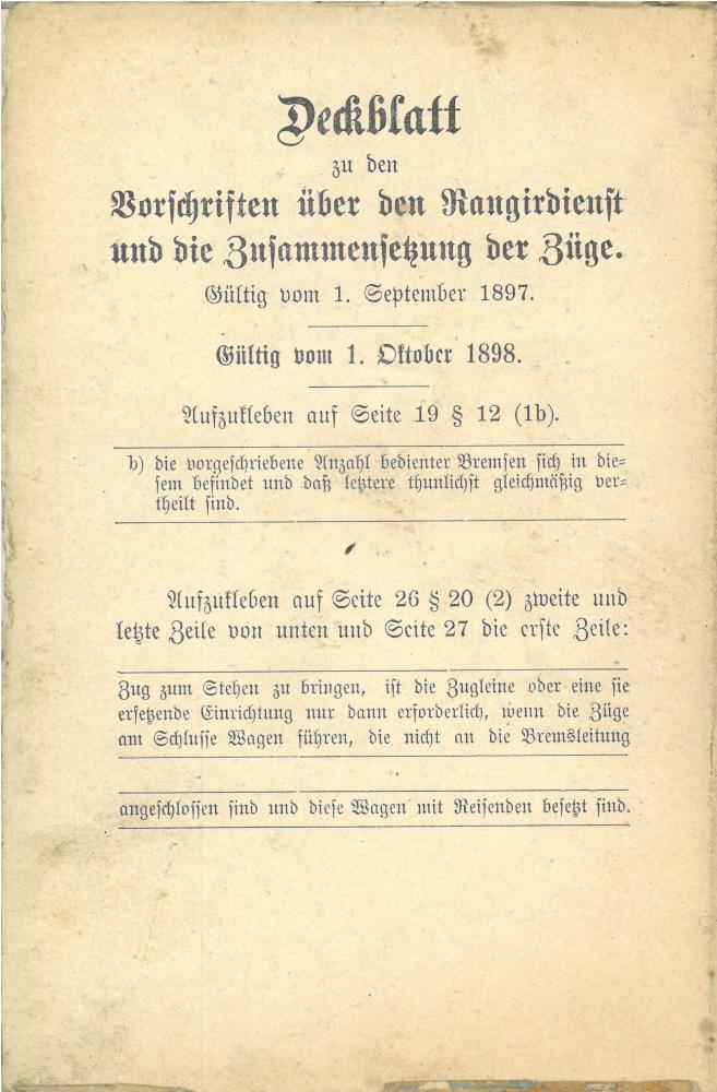 1897 - Vorschriften über den Rangierdienst und die Zusammensetzung der Züge - Korrekturen