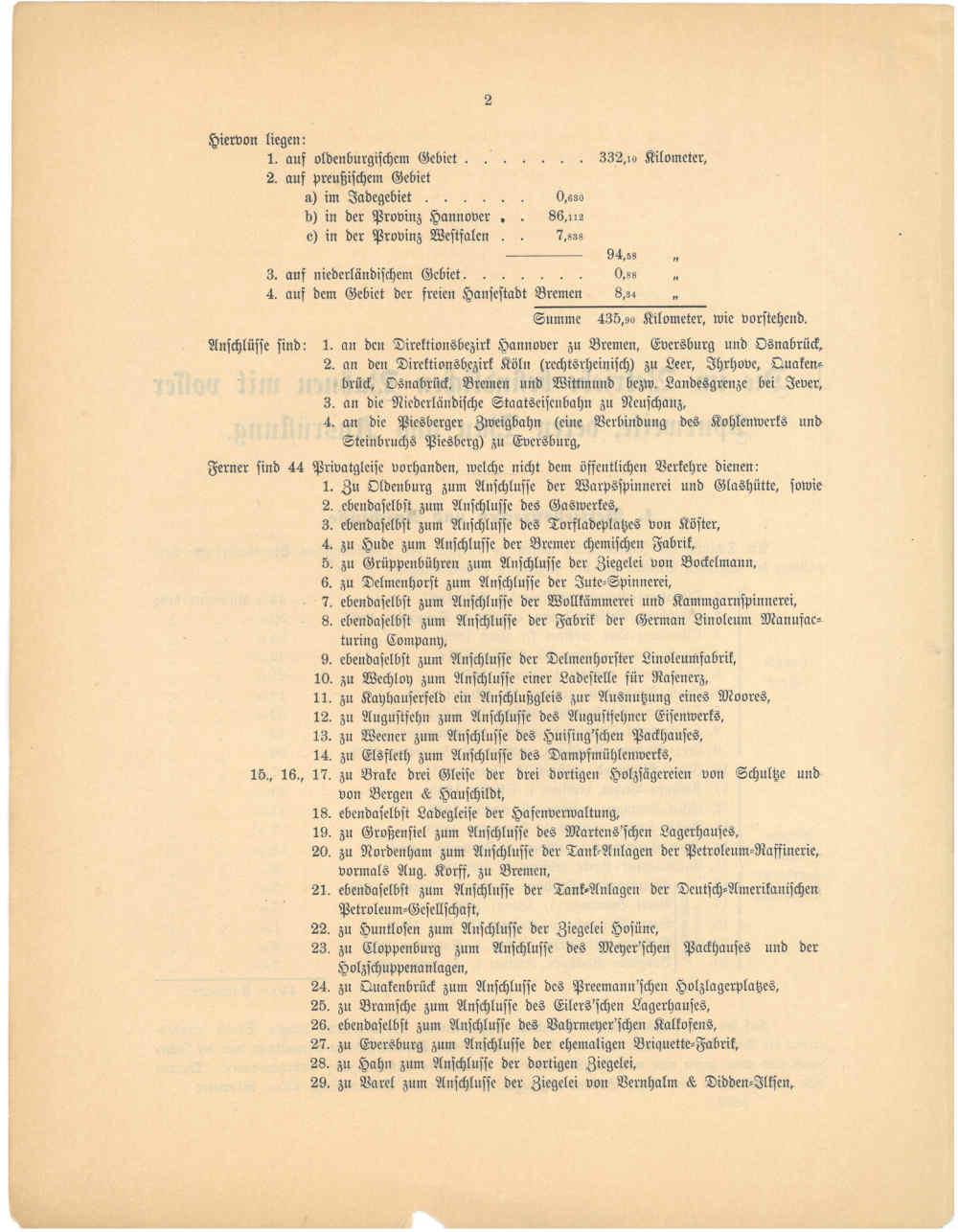 1893 - Jahresbericht Seite 2, Übersicht über die oldenburgischen Strecken