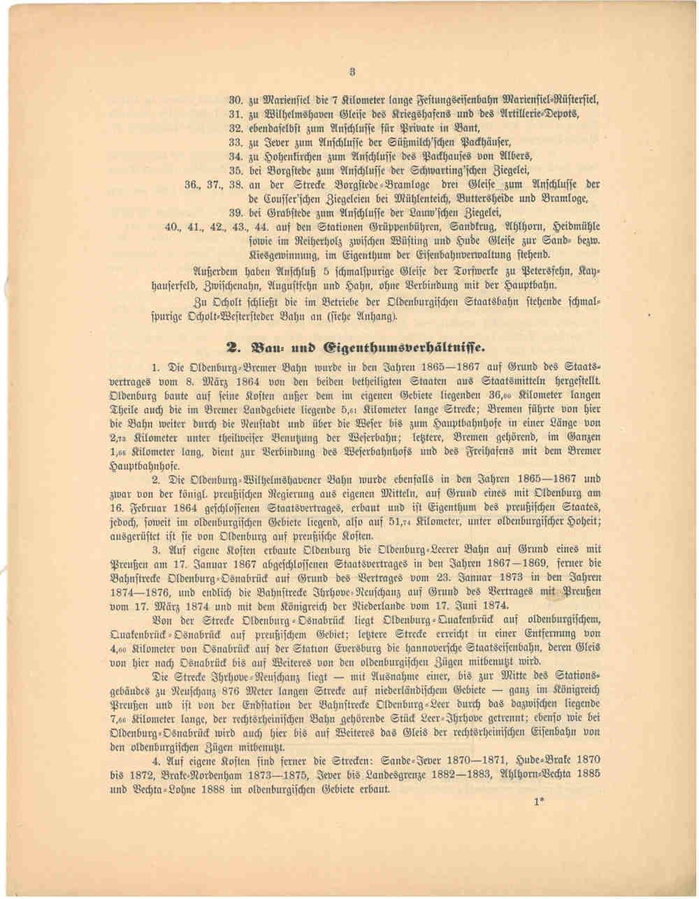 1893 - Jahresbericht Seite 3, Übersicht über die oldenburgischen Strecken