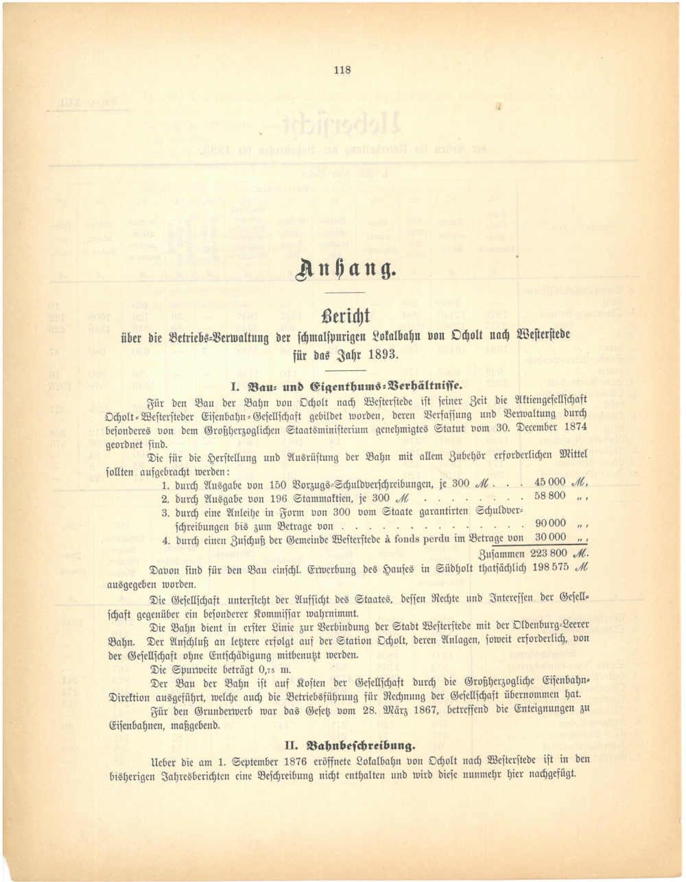 1893 - Jahresbericht, Bericht über die schmalspurige Lokalbahn von Ocholt nach Westerstede