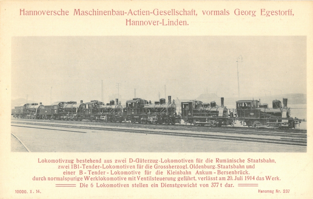 1914 - Lokzug der HANOMAG auf einer Ansichtskarte (Nr. 237)