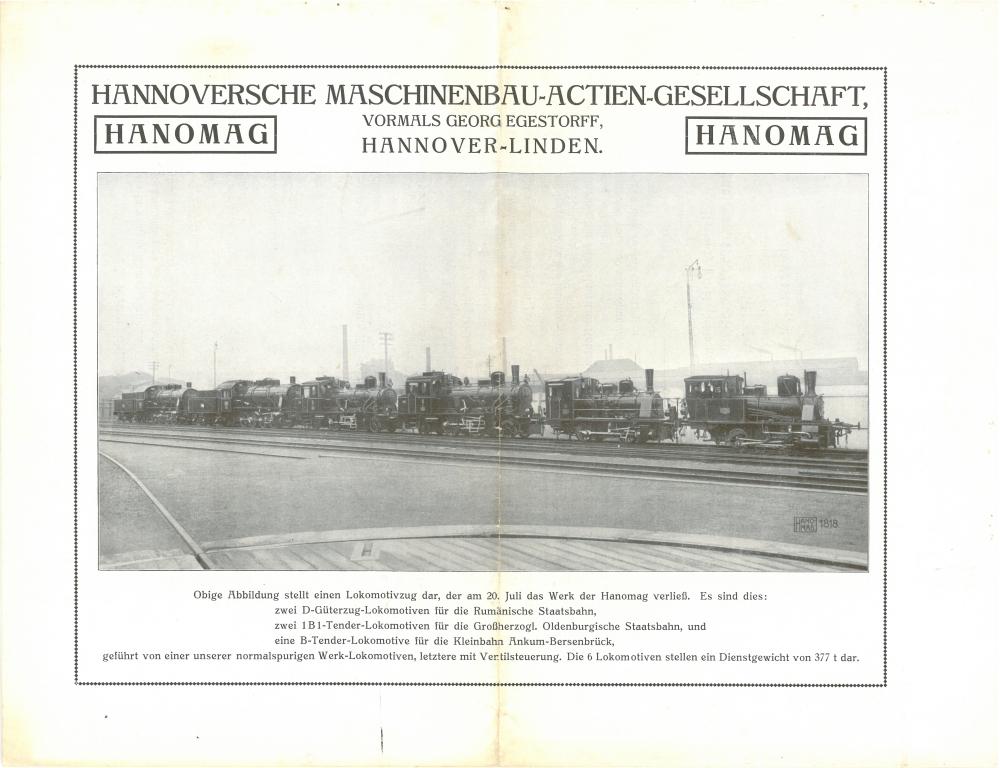 Die Aufnahme des Lokzuges erschien auch in den Hanomag-Nachrichten Heft 10 des Jahres 1914
