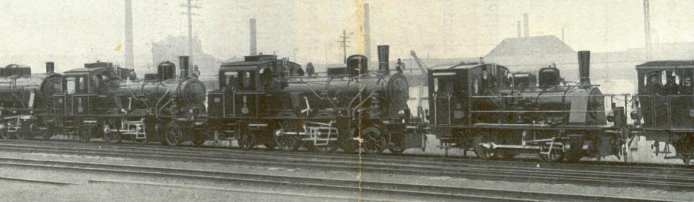 Auf diesem Ausschnitt sind nur die beiden oldenburgischen Maschinen sowie die der Kleinbahn Ankum - Bersenbrück zu sehen