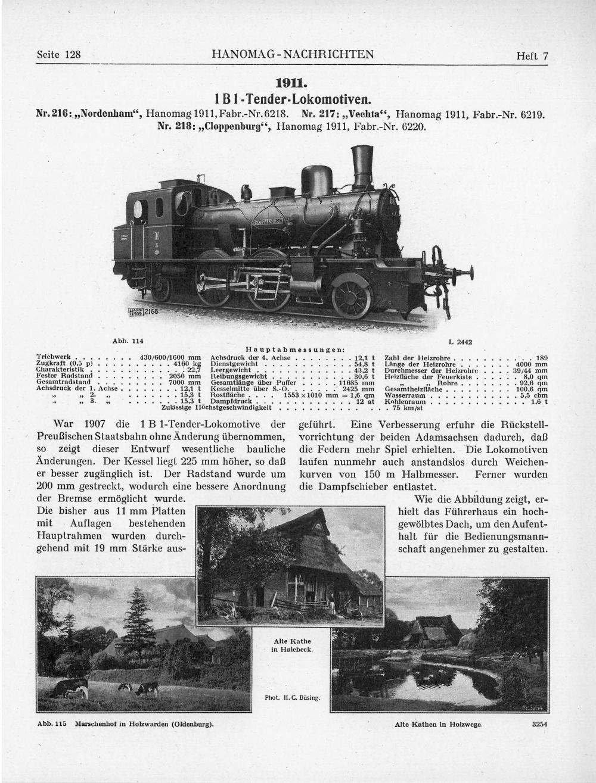Der Bauform der T 5.1 ab 1911 ist in der Übersocht über oldenburgische Lokomotiven in den Hanomag-Nachrichten von 1916 fast eine ganze Seite gewidmet