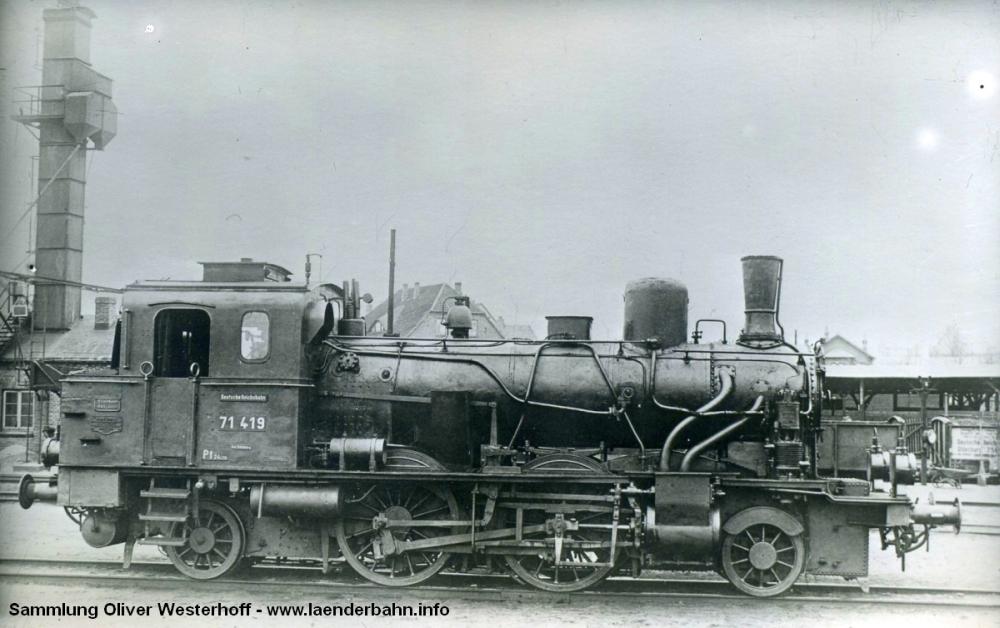 Auch die Nr 279 entsprach der Bauform von 1911, bei der DRG lief sie als 71 419 noch bis 1930