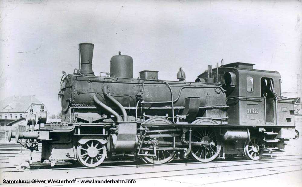 Die T 5.1 Nr. 280 von 1920 (oder 1921?) war die letztgebaute ihrer Baureihe. Bis 1930 lief sie noch als 71 420 bei der DRG
