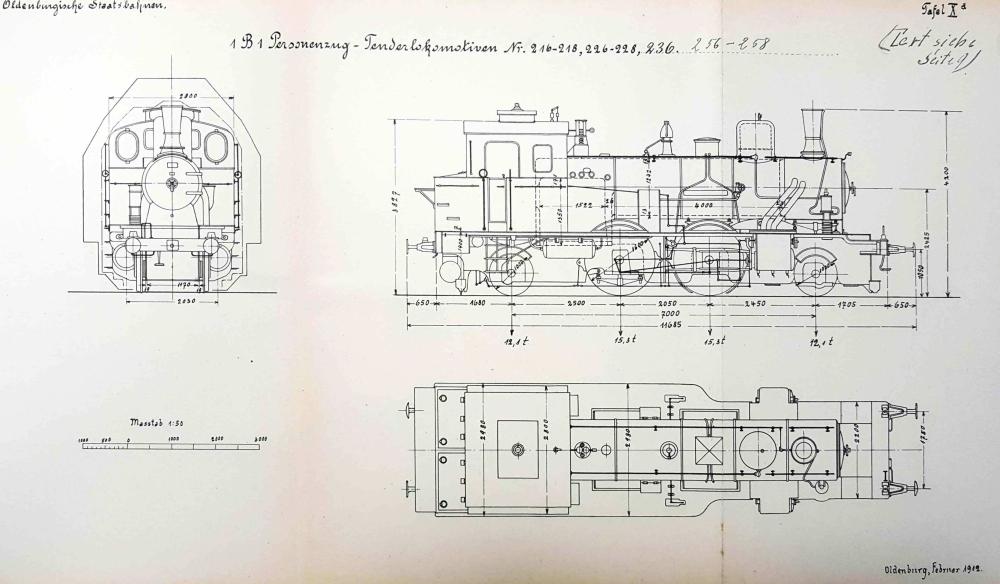 Tafel 10a des Lokomotivverzeichnisses zeigt die Übersichtsskizzen der Lokomotiven, hier die spätere Bauform ab 1911