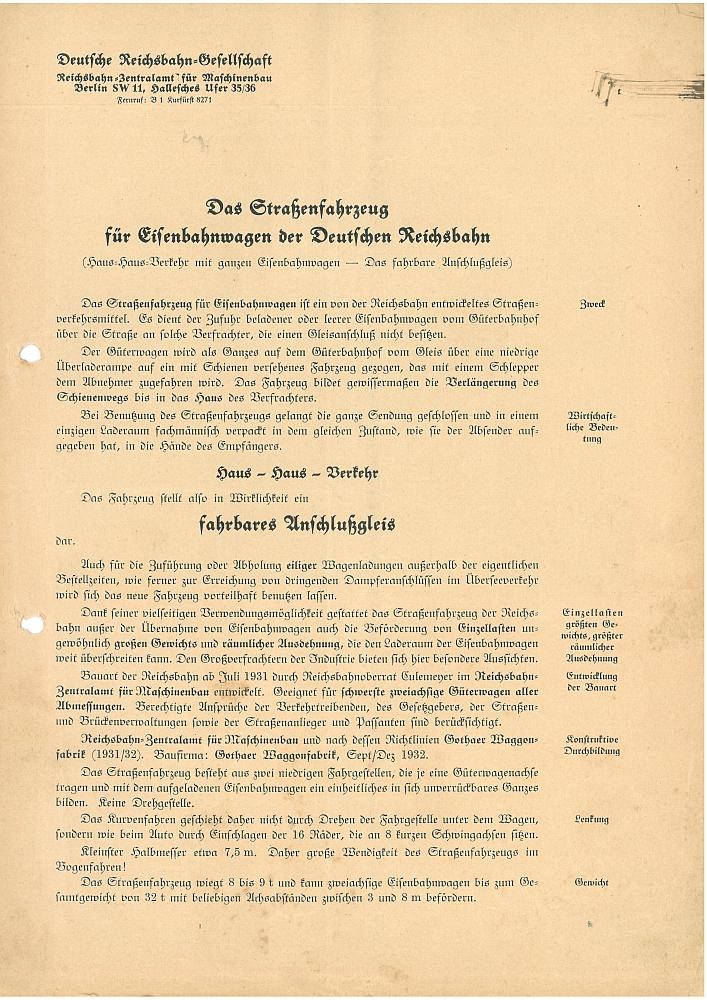 1933 - Das Straßenfahrzeug für Eisenbahnwagen der Deutschen Reichsbahn Seite 1