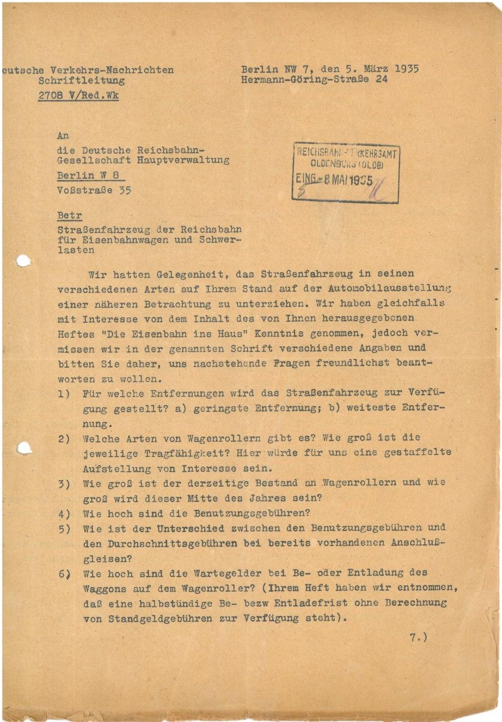 Schreiben vom 05.03.1935 - Seite 1