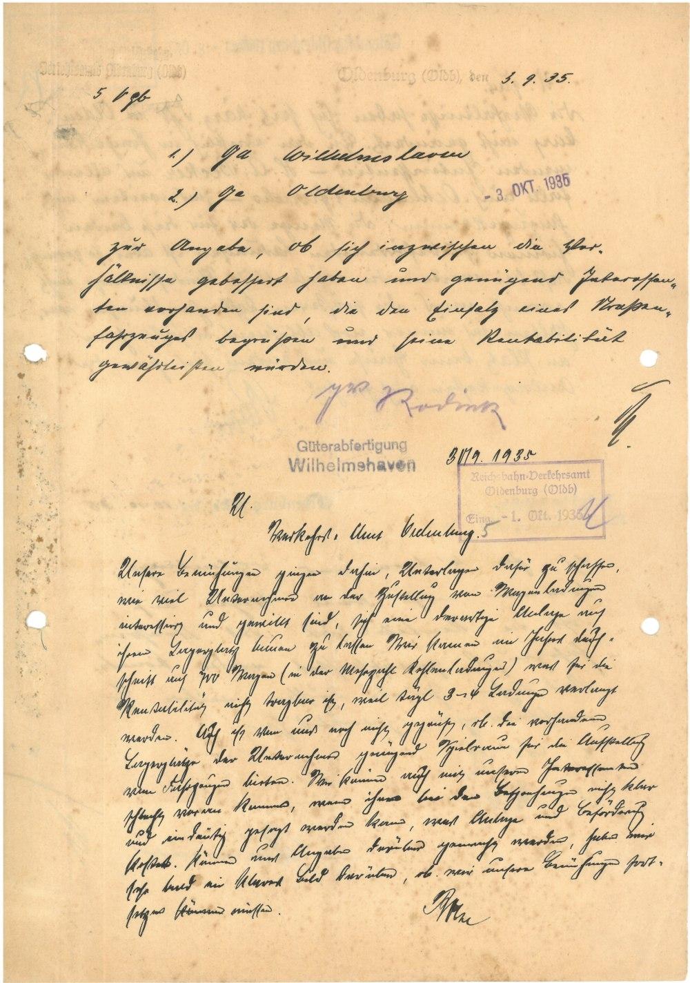 Schreiben vom 03.09.1935 - Seite 1